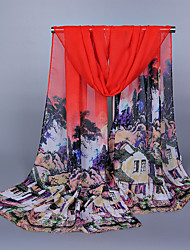 Women's Chiffon Chinese Painting Print Scarf Red/Pink/Yellow/Blue/Fuchsia
