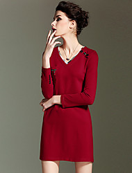 BURDULLY  Going out Simple Sheath DressSolid / Floral V Neck Above Knee Long Sleeve Red Cotton Summer High Rise