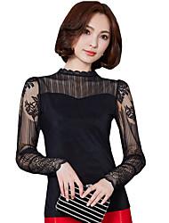 Feminino Blusa Para Noite Casual Simples Moda de Rua Primavera Outono,Sólido Retalhos Poliéster Outros Colarinho Chinês Manga Longa Média