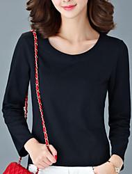 Damen Solide Einfach Lässig/Alltäglich T-shirt,Rundhalsausschnitt Herbst Langarm Schwarz / Grau / Grün Baumwolle Undurchsichtig