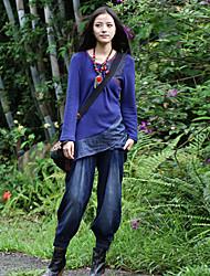 Pantalon Aux femmes Large / Jeans Bohème Coton / Spandex Non Elastique