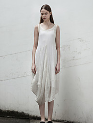 Rizhuo Women's Casual/Daily Simple Loose DressSolid Round Neck Asymmetrical Sleeveless White Cotton / Linen Summer