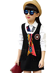 Girl's Casual/Daily Solid DressCotton Spring / Fall Black / Pink