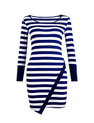 Women's Casual/Daily / Club Sexy / Simple Slim Over Hip Bodycon DressStriped Round Neck Mini Long Sleeve