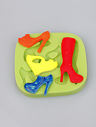 4 Cavity women high quality heels shape silicone cake mould chocolate mold