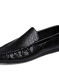 Men's Loafers & Slip-Ons Spring / Fall Comfort PU Casual Flat Heel Slip-on Black / White Sneaker