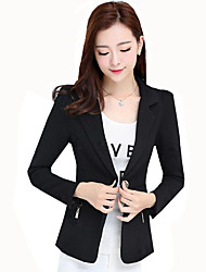 Women's Plus Size / Casual/Daily / Work Simple Plus Size Fashion Slim Spring / Fall Blazer Solid Notch Lapel Long Sleeve