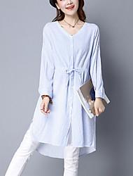 Women's Casual Simple Loose /Shirt DressV Neck Striped Asymmetrical Two Ways Wear Blue /Gray Cotton /Linen Spring /Fall