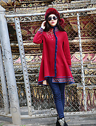 Our Story Women's Going out Boho CoatEmbroidered Stand Long Sleeve Winter Red Wool / Polyester Medium