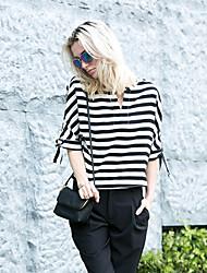 Damen Solide / Gestreift Einfach Ausgehen T-shirt,V-Ausschnitt Frühling / Herbst Langarm Weiß / Schwarz Polyester Mittel