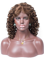 Remy Human Hair Color 6# Loose Curl 10-26inches Light Brown Swiss Lace 130% density Full Lace Wig