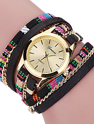 Women's Cool Quartz Fashion Casual Watch Multi-colored Fabric Belt Personality Bracelet Round Dial Watch Unique Watch