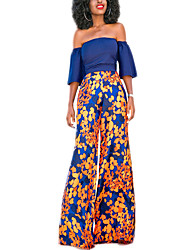 Women's Casual/Daily Sexy All Seasons Set Skirt Suits,Polka Dot Boat Neck ½ Length Sleeve Blue Polyester Opaque