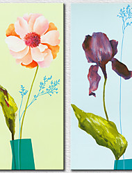 Canvas Set Floral/Botanical ModernTwo Panels Canvas Vertical Print Wall Decor For Home Decoration