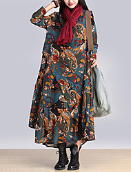 Women's Casual/Daily Boho Loose Sweet Dress,Print Round Neck Maxi Long Sleeve Blue / Red / Gray / Yellow Cotton Fall