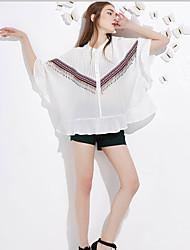 j&les femmes d de sortir blouseprint mignon d'été autour du cou à manches longues milieu de polyester blanc