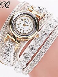 Mujer Reloj Pulsera La imitación de diamante Brillante Cuarzo Piel Banda Destello Negro Blanco Plata