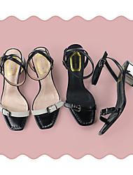 Damen-Sandalen-Lässig-Leder-Stöckelabsatz-Komfort-Schwarz