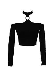 Damen Solide Sexy Ausgehen T-shirt,Halter Herbst Langarm Weiß / Beige / Schwarz Baumwolle Mittel