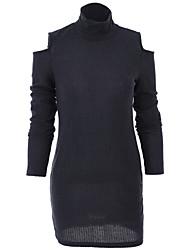Women's Europe Casaul Round Collar Cut Shoulder Slim Mini Knit Dress