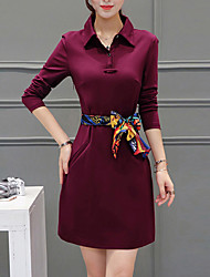 Women's Plus Size / Simple Shirt Dress,Solid Shirt Collar Above Knee Long Sleeve Blue / Red / Black Summer / Fall