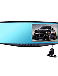 4.3 Inch Rear View Mirror Driving Recorder Dual Lens 1080p HD Blue Mirror Wide Angle Night Vision Parking