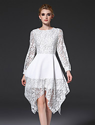 FRMZ  Women's Work Simple Loose DressSolid Round Neck Knee-length / Asymmetrical Long Sleeve