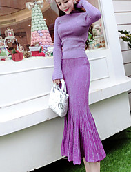Women's Casual/Daily Cute Fall Set SkirtSolid Turtleneck Long Sleeve Purple Polyester Medium