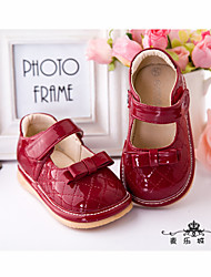 Girl's Loafers & Slip-Ons Summer Fall Flats Patent Leather Casual Flat Heel Bowknot Red Others