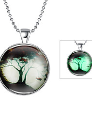 Cremation Jewelry Magical Glow in The Dark 925 Sterling Silver Luminous Botany Pendant Necklace