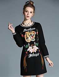 AUFOLI Plus Size Women Vintage Embroidery Long Sleeve A-Line Casual Sport Dress