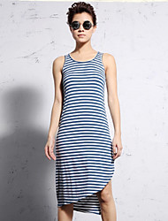 NEW BEFORE  Women's Casual/Daily Simple Sheath DressStriped Round Neck Knee-length / Asymmetrical