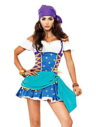 Costumes Uniforms Halloween Blue Solid Terylene Dress / Headwear