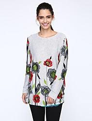 Women's Casual/Daily Shift Dress,Print Round Neck Above Knee Long Sleeve Multi-color Cotton Fall
