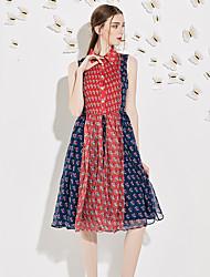 Trapèze Robe Femme Sortie Vintage,Imprimé / Mosaïque Col de Chemise Mi-long Sans Manches Rouge Polyester Eté Taille Normale Non Elastique