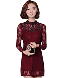 Spring Fall Women's Go out Wild Slim Lace Solid Color Stand Collar Long Sleeve Dress