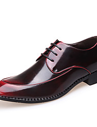 Men's Flats  Comfort / Pointed Toe / Closed Toe  Casual Flat Heel Lace-up Black / Red / Silver Walking