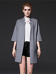 occasionnel / journalier simple manteau de printemps des femmes frmz / capessolid debout manches acrylique gris / support de nylon