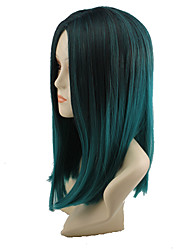 Female Fashion Women Hair Harajuku Gradient Straight Wigs Black Green Wig Heat Resistant Wig Cosplay Ombre