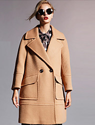 Newbefore Women's Formal Sophisticated CoatSolid Peaked Lapel Long Sleeve Fall / Winter Red / Brown