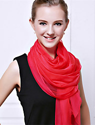 Women Vintage Casual Rectangle Solid Candy Colors Chiffon Silk Scarf Travel Beach Towel