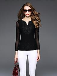 BOMOVO® Femme Col en V Manche Longues T-shirt Noir-B16QAF3