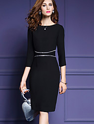 Women's Plus Size / Work Street chic Sheath DressPatchwork Round Neck Knee-length  Sleeve Black  / Winter