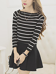 Women's Going out Simple Fall Set SkirtStriped Round