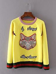Damen Kurz Pullover-Lässig/Alltäglich Einfach Tierfell-Druck Gelb Rundhalsausschnitt Langarm Baumwolle Winter Dünn Unelastisch