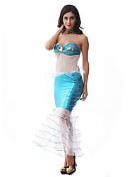 Costumes de Cosplay / Costume de Soirée Sirène / Conte de Fée Fête / Célébration Déguisement Halloween Bleu Imprimé Robe / Coiffure