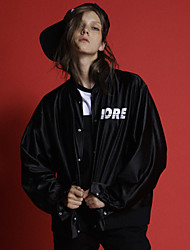 Neato женщин выходить простой зимой jacketsletter стоять длинный рукав розовый / черный / серебряный полиэфирный носитель