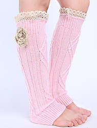 Women's Winter Knitting Warm Lace Flower By Hand Leg Warmers