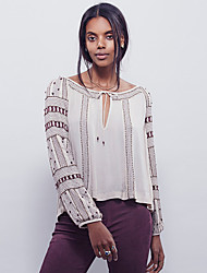 Boutique SGoing out Cute Spring T-shirtPrint Round Neck Long Sleeve Red / White Cotton / Polyester Medium
