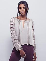 Damen Druck Niedlich Ausgehen T-shirt,Rundhalsausschnitt Frühling Langarm Rot / Weiß Baumwolle / Polyester Mittel
